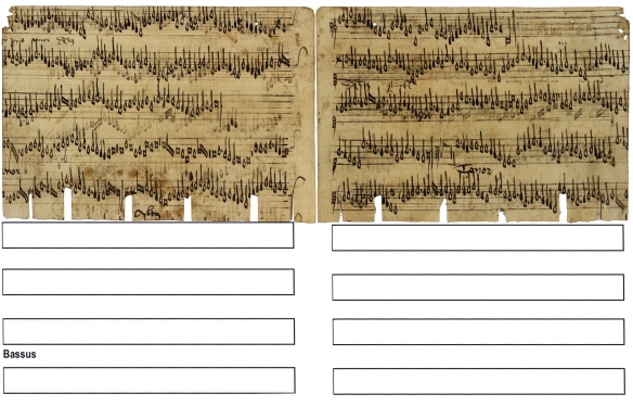 "Original opening of Fragment 15 and 20 as facing pages: on the left Fragment 15 with Discantus, Tenor, Altus and the beginning of the Bassus of ""J'ay pris amours"", on the right Fragment 20 with the ending of the Bassus voice and the beginning of a new piece: Discantus and Tenor of ""stuckl""."